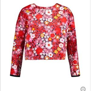 Floral silk cropped top